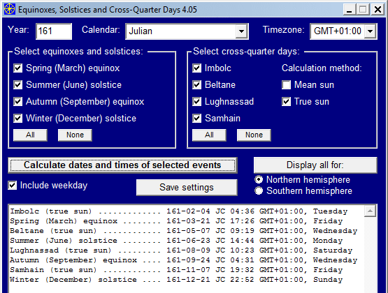 Equinoxes, Solstices and Cross-Quarter Days Screenshot