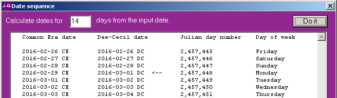 Julian-Gregorian-Dee Date Calculator Screenshot