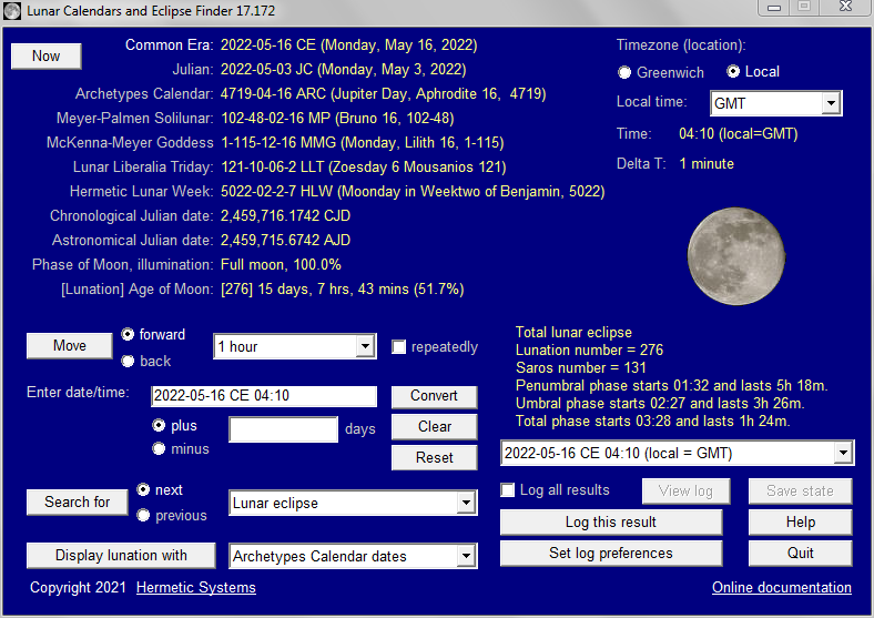 Click to view Lunar Calendars and Eclipse Finder 15.66 screenshot