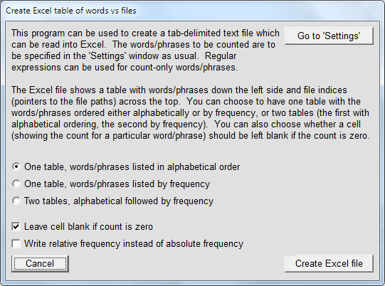 Word Frequency Counter (Advanced): Creation of an Excel File